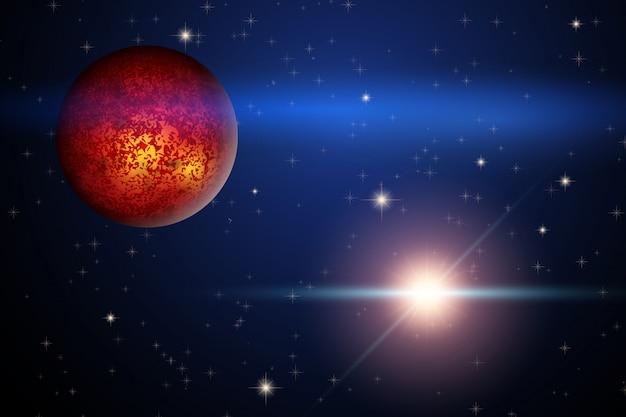 Il pianeta marte e la stella luminosa nello spazio Vettore Premium