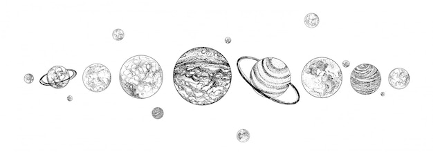 Pianeti allineati in fila. sistema solare disegnato in colori monocromatici. corpi celesti legati gravitazionalmente nello spazio. oggetti cosmici naturali disposti in linea orizzontale. illustrazione. Vettore Premium