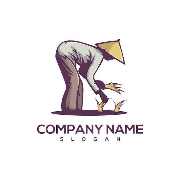 Piantare il logo del riso Vettore Premium