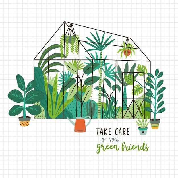 Piante che crescono in vasi o fioriere all'interno di una serra di vetro e slogan prenditi cura dei tuoi amici verdi. Vettore Premium