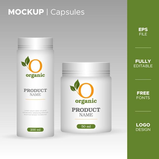 Vaso per bottiglie di capsule di plastica e design del tubo con logo biologico Vettore Premium