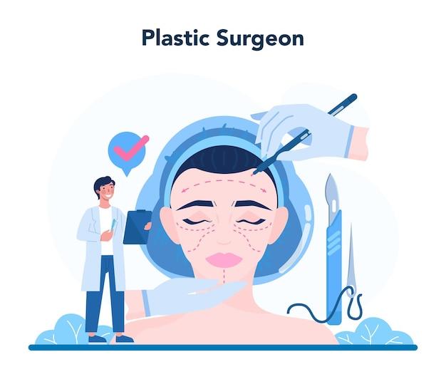Concetto di chirurgo plastico. idea di correzione del corpo e del viso. Vettore Premium