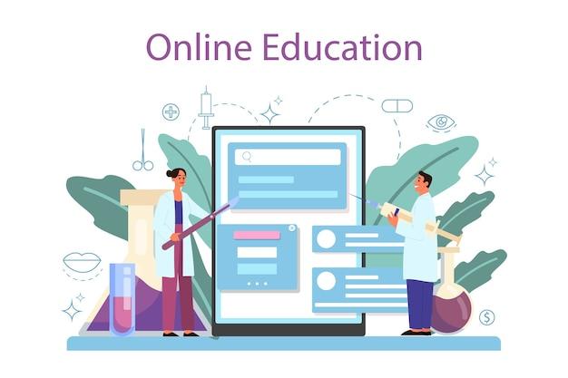 Servizio o piattaforma online di chirurgo plastico. idea di correzione del corpo e del viso. rinoplastica in ospedale e procedura antietà. formazione in linea. Vettore Premium