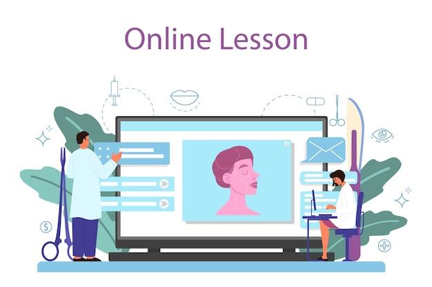 Servizio o piattaforma online di chirurgo plastico. idea di correzione del corpo e del viso. rinoplastica in ospedale e procedura antietà. lezione in linea. Vettore Premium