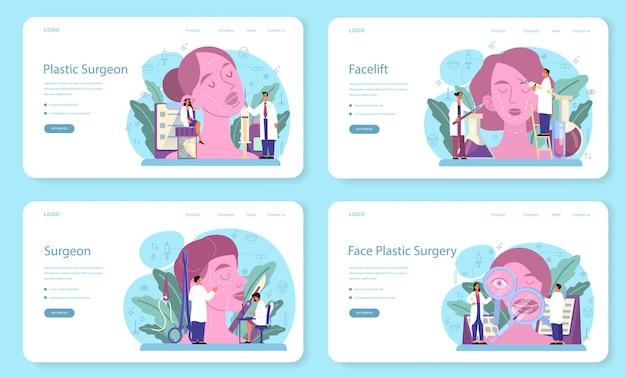Banner web chirurgo plastico o set di pagine di destinazione. idea di correzione del corpo e del viso. rinoplastica in ospedale e procedura antietà. Vettore Premium