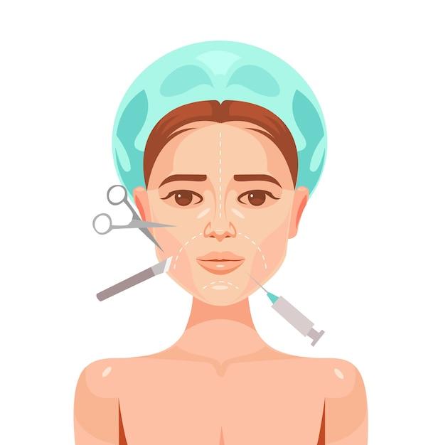 Chirurgia plastica. volto di donna. Vettore Premium