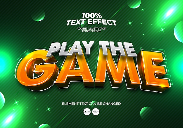 Gioca a the game text effect Vettore Premium