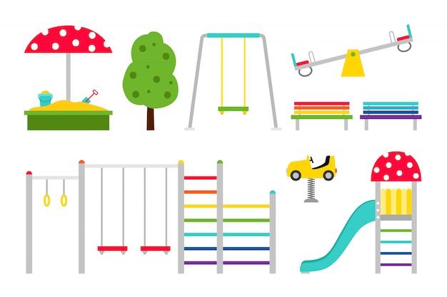 Attrezzature per parchi giochi per bambini Vettore Premium
