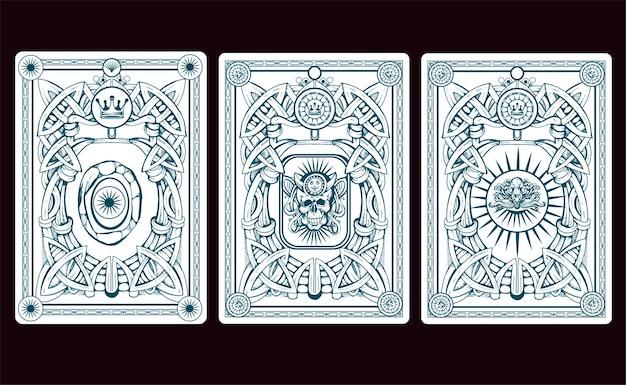 Illustrazione della parte posteriore della carta di playng Vettore Premium