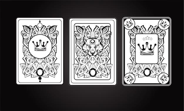 Insieme dell'illustrazione della carta di playng Vettore Premium