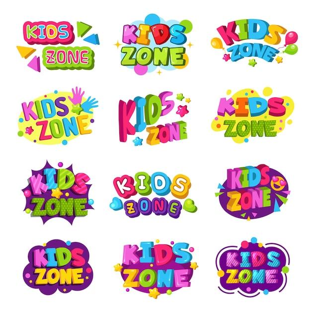 Logo della sala giochi. emblema grafico del testo dei distintivi divertenti colorati della zona dei bambini per le aree di istruzione del gioco impostate. Vettore Premium