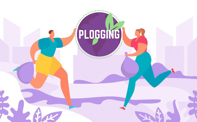 L'insegna del blog che permette di correre e raccogliere i rifiuti uomo e donna, svuotare il mondo, illustrazione eco maratona. Vettore Premium