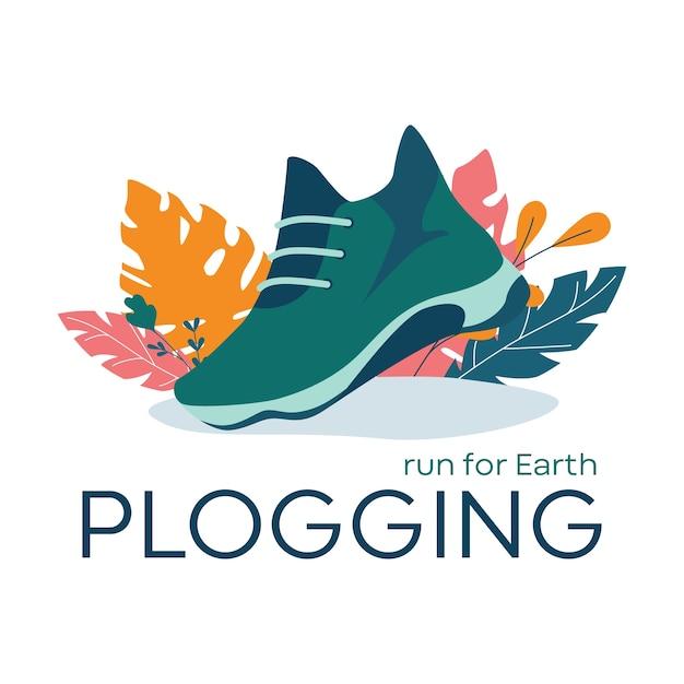 Banner di plogging, correre per il concetto di terra. tendenza ecologica moderna, raccolta della spazzatura di plastica durante il jogging o la corsa. stile di vita ecologico e sano. Vettore Premium