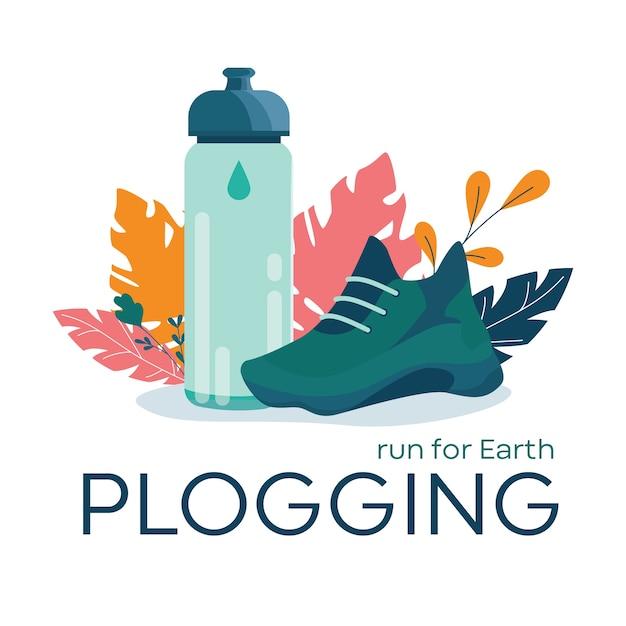 Banner di plogging, correre per il concetto di terra. tendenza eco moderna, Vettore Premium