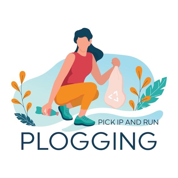 Banner di plogging. la giovane donna prende la bottiglia di plastica durante il jogging nel bosco. la ragazza raccoglie la spazzatura mentre corre. stile di vita ecologico e sano. Vettore Premium