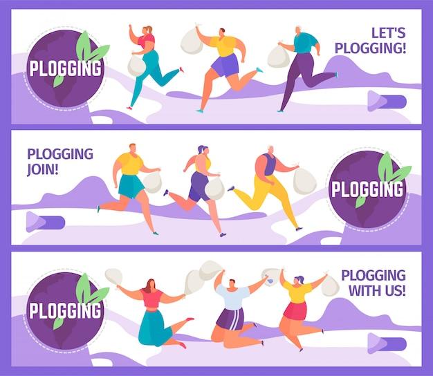 Le insegne del blog hanno messo l'illustrazione dei plogger della gente che raccolgono la lettiera mentre eseguono la maratona di eco. Vettore Premium