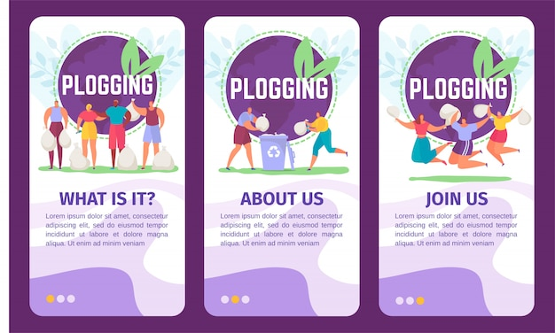 Banner di ecologia di blog impostato per l'illustrazione di blog di persone che raccolgono rifiuti e eseguono eco maratona. Vettore Premium