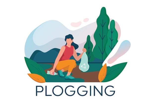 Plogging. la giovane donna prende la bottiglia di plastica durante il jogging Vettore Premium