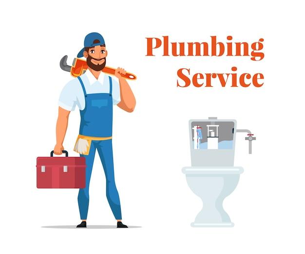 Banner pubblicitario di servizio idraulico, riparatore di cartone animato in uniforme in piedi con la chiave in mano e la scatola degli strumenti vicino al wc. Vettore Premium