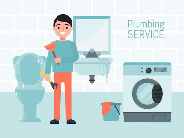Concetto di servizio dell'impianto idraulico, illustrazione dell'operaio maschio del carattere. riparazione lavatrice, wc e lavandino. sistema di approvvigionamento idrico di manutenzione. Vettore Premium