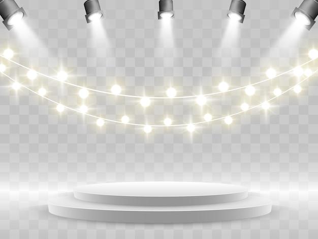 Il podio è illuminato da faretti. Vettore Premium