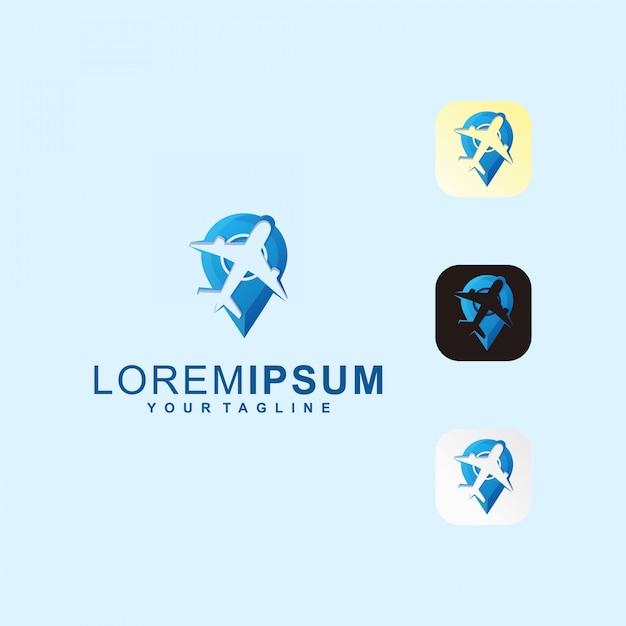 Point plane travel icon premium logo Vettore Premium