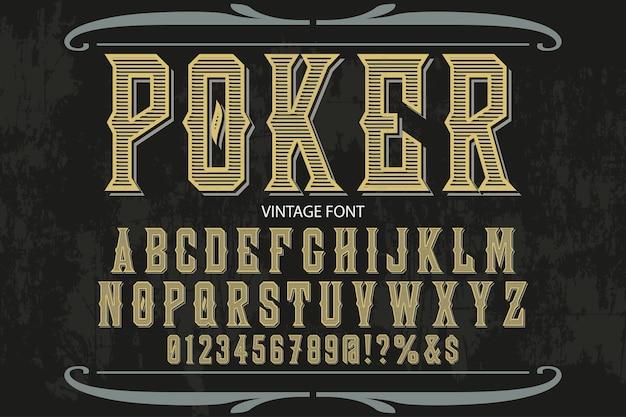 Design di etichetta alfabeto poker Vettore Premium