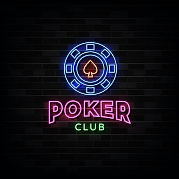 Insegne al neon del club di poker. Vettore Premium