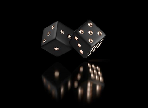 Dadi da poker. vista dei dadi bianchi dorati. dadi dell'oro del casinò su priorità bassa nera. concetto di gioco dei dadi online del casinò isolato sul nero Vettore Premium