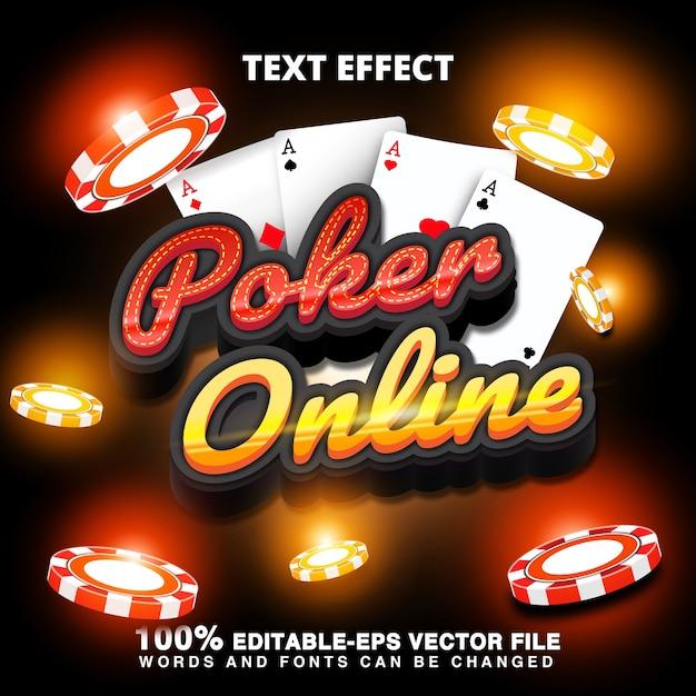 Effetto testo poker online con fiches del casinò e carte da poker Vettore Premium