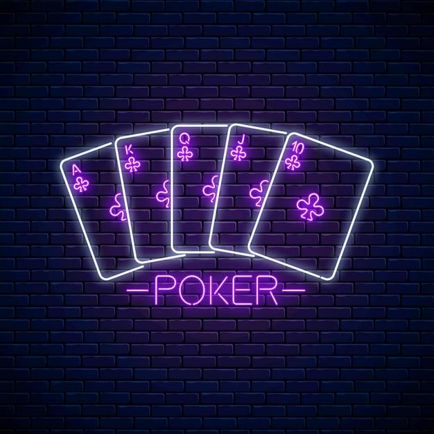 Disegno del segno di poker in stile neon. simbolo del casinò al neon incandescente, banner, cartello. design del logo notturno. giochi d'azzardo Vettore Premium