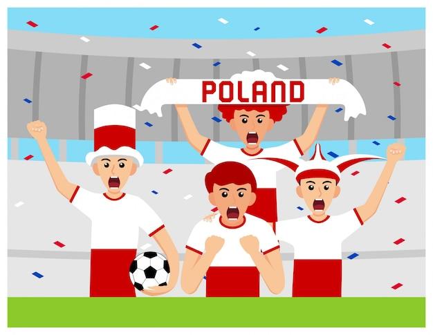 Sostenitori della polonia nella progettazione piana Vettore Premium