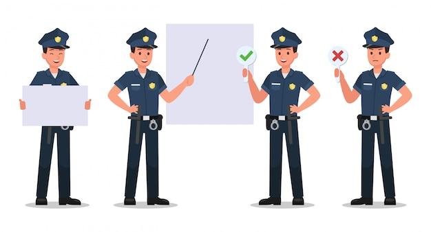 Set di caratteri della polizia Vettore Premium
