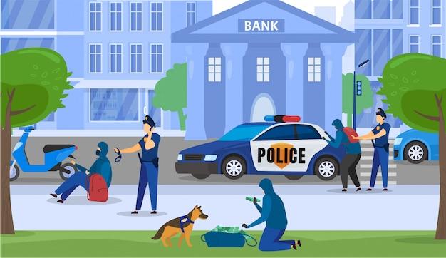 La sicurezza degli uomini di polizia e il crollo del crimine bancario, il poliziotto hanno catturato i criminali vicino all'illustrazione del fumetto della costruzione di banca. Vettore Premium