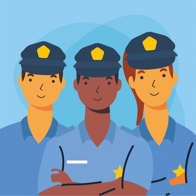 Progettazione di uomini e donne di polizia Vettore Premium