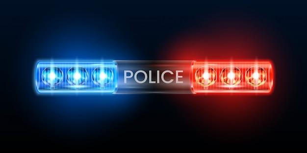 Luci della sirena della polizia. lampeggiatore di segnalazione, lampeggiante dell'automobile del poliziotto e illustrazione blu rossa delle sirene di sicurezza Vettore Premium