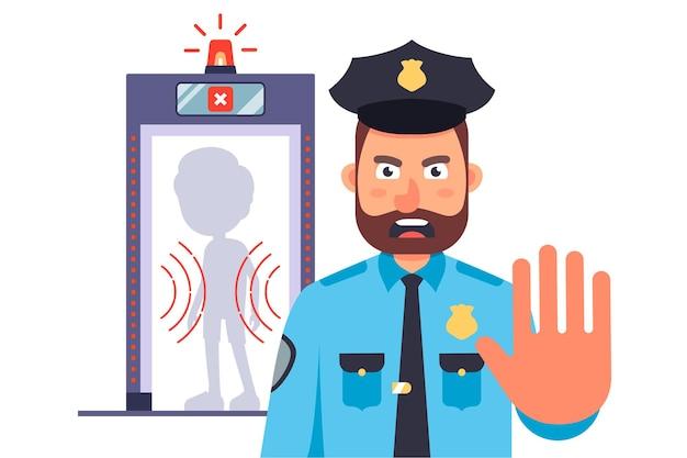 Poliziotto all'ingresso dell'aeroporto. divieto di attraversare il confine. piatto Vettore Premium
