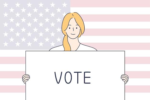 Politica, elezione, usa, concetto di voto. Vettore Premium