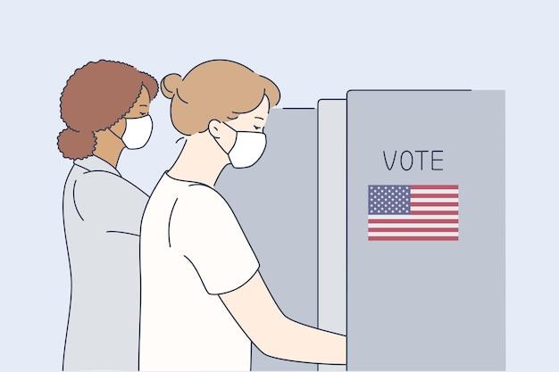 Politica, elezioni, stati uniti, voto, concetto di coronavirus. Vettore Premium