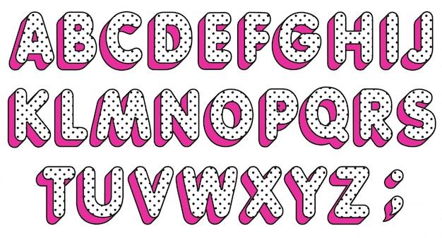 Set di lettere dell'alfabeto a pois. carattere pop art Vettore Premium