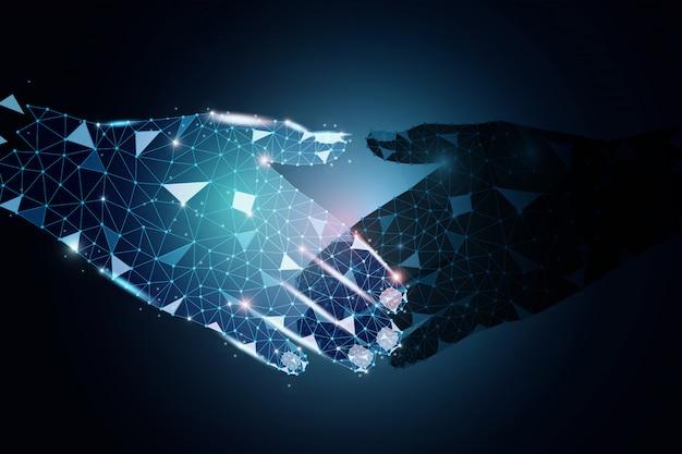 Progettazione poligonale di partner commerciali che tengono le mani Vettore Premium
