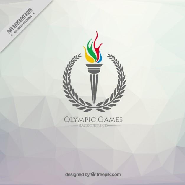 Sfondo poligonale con un giochi torcia olimpica Vettore Premium