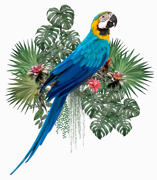Illustrazione poligonale uccello ara blu e oro con foglie di amazon. Vettore Premium