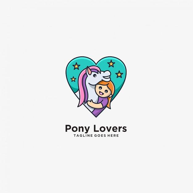 Illustrazione sveglia di pony lovers horse with children. Vettore Premium