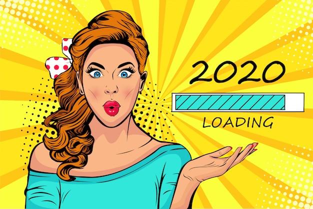 Donna bionda pop art guardando il processo di caricamento 2020. aspettando il nuovo anno. Vettore Premium