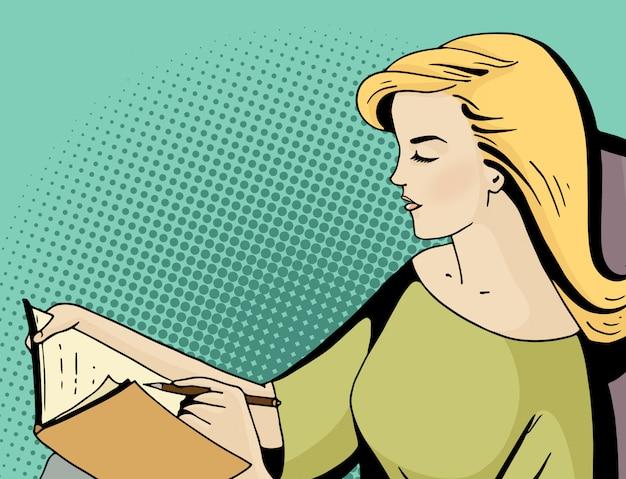 Seduta donna pop art bionda e tenere un diario. Vettore Premium