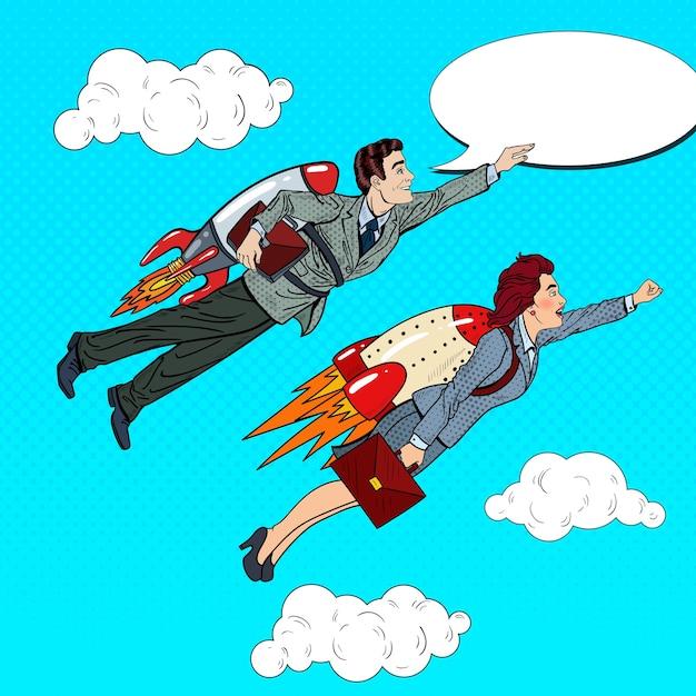 Pop art business persone che volano sui razzi. concetto di avvio creativo. Vettore Premium