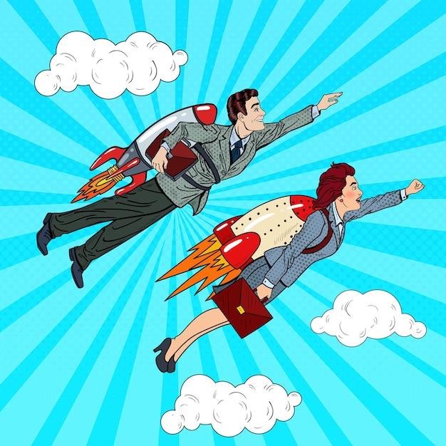 Pop art business persone che volano sui razzi verso il successo. concetto di avvio creativo. Vettore Premium