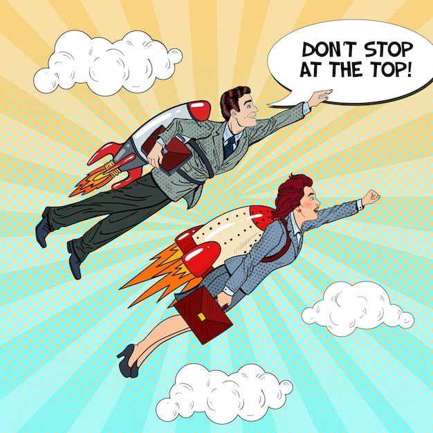 Uomo d'affari di pop art e donna che volano sui razzi. concetto di avvio creativo. Vettore Premium