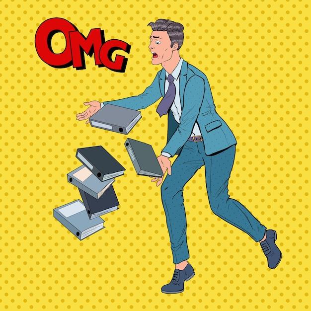 Pop art incurante uomo d'affari lasciando cadere i documenti della cartella Vettore Premium